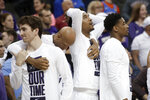 TCU players react to a Kansas State basket during the second half of an NCAA college basketball game in the first round of the Big 12 men's tournament in Kansas City, Mo., Wednesday, March 11, 2020. Kansas State won 53-49. (AP Photo/Orlin Wagner)