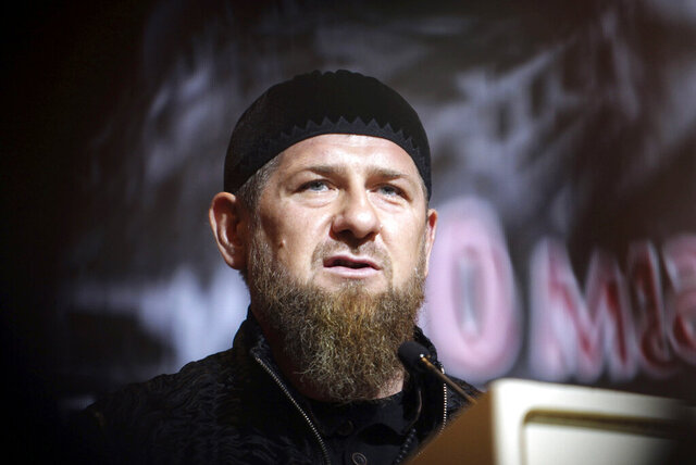 FILE - In this Friday, May 10, 2019 file photo, Chechnya's regional leader Ramzan Kadyrov speaks during a meeting in Grozny, Russia. The U.S. State Department on Monday, July 20, 2020 announced sanctions against Kadyrov and his family over human rights abuses. (AP Photo/Musa Sadulayev, file)