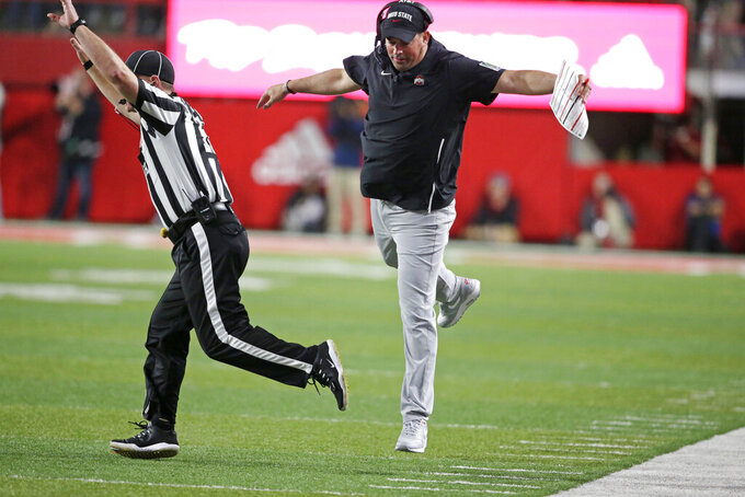 Ohio State head coach Ryan Day asks for a timeout during the first half of an NCAA college football game against Nebraska in Lincoln, Neb., Saturday, Sept. 28, 2019. (AP Photo/Nati Harnik)