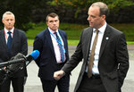 British Secretary of State for Foreign and Commonwealth Affairs and First Secretary of State Dominic Raab speaks to the media as he arrives to the Informal Meeting of EU Foreign Ministers in Helsinki, Finland, on Friday, Aug. 30, 2019.  Some EU foreign ministers at the conference expressed concern that a potentially damaging and very costly U.K. exit from the bloc without an agreement appears more likely at the moment.  (Jussi Nukari/Lehtikuva via AP)