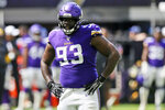 FILE - In this Aug. 24, 2019, file photo, Minnesota Vikings defensive tackle Shamar Stephen gets set for a play during the first half of an NFL preseason football game against the Arizona Cardinals in Minneapolis. The Vikings have released Stephen. The move continues the overhaul of a front four that fell off badly last season. Stephen's departure will clear $3.75 million in space under the salary cap for 2021. (AP Photo/Jim Mone, File)