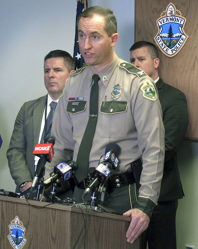 Vermont State Police Col. Matthew Birmingham speaks to the media Monday, Feb. 12, 2018, in Williston, Vt., regarding an officer involved shooting that took place on Sunday in Bolton. Police said 42-year-old Benjamin Gregware, of Sheldon, died at the hospital after the shooting. Birmingham said the trooper who fired had been involved in two other fatal shootings in the last six months. (AP Photo/Wilson Ring)
