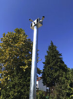 In this Oct 2, 2019, photo, cameras hang from a pole in Belgrade, Serbia. A video surveillance system with facial recognition by Chinese tech giant Huawei is being rolled out across hundreds of cities worldwide, particularly in poor countries with weak track records on human rights where Beijing has increased its influence through big business deals. (AP Photo/Dusan Stojanovic)