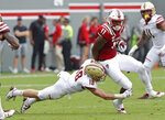 North Carolina State's Jakobi Meyers (11) runs the ball as Boston College's Mike Palmer (18) tries to make the tackle during the first half an NCAA college football game in Raleigh, N.C., Saturday, Oct. 6, 2018. (AP Photo/Gerry Broome)