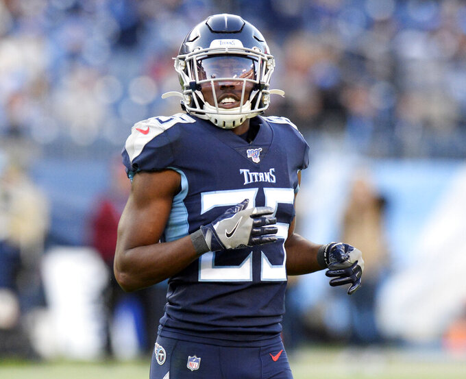FILE - In this Nov. 25, 2019, file photo, Tennessee Titans cornerback Adoree' Jackson plays against the Jacksonville Jaguars in an NFL football game in Nashville, Tenn. The New York Giants continued their free agent spending spree, signing former cornerback Jackson. A person with knowledge of the deal told The Associated Press the team reached a three-year deal with the former Titan. The person spoke on condition of anonymity Monday, March 22, 2021, because the agreement with the free agent has not been announced. (AP Photo/Mark Zaleski, File)