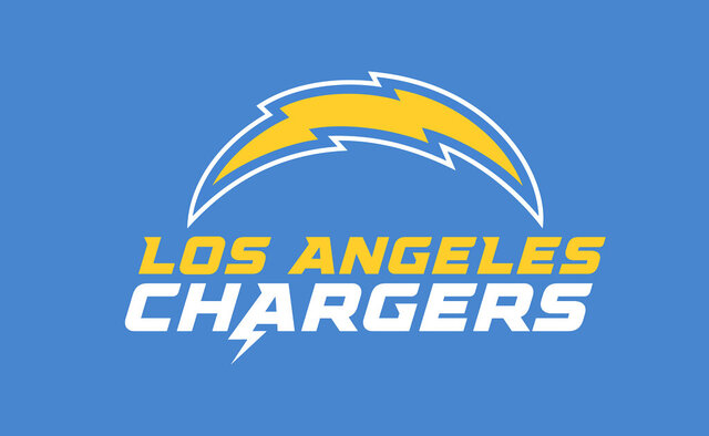 This image provided by the Los Angeles Chargers shows the Los Angeles Chargers updated logo. The Los Angeles Chargers have updated their bolt logo and unveiled new logotype ahead of their move into their new home at Hollywood Park, Tuesday, March 24, 2020. (Los Angeles Chargers via AP)