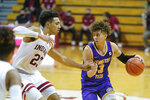 Tennessee Tech's Keishawn Davidson (3) is defended by Indiana's Trayce Jackson-Davis (23) during the second half of an NCAA college basketball game, Wednesday, Nov. 25, 2020, in Bloomington, Ind. (AP Photo/Darron Cummings)