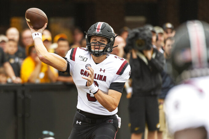 South Carolina quarterback Ryan Hilinski throws during the first quarter of an NCAA college football game against Missouri, Saturday, Sept. 21, 2019, in Columbia, Mo. (AP Photo/L.G. Patterson)