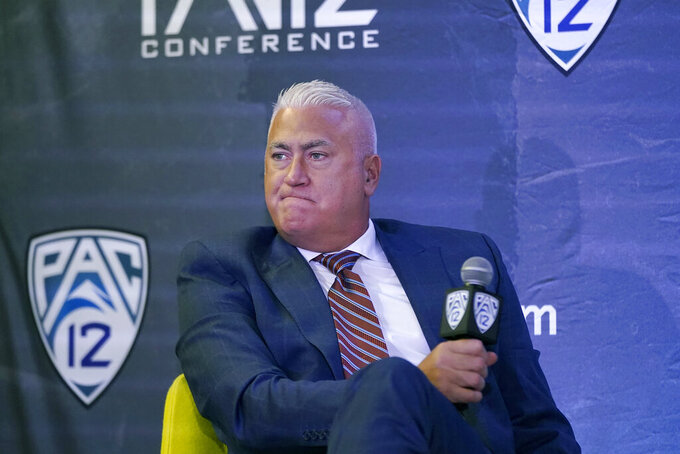 Oregon State head coach Wayne Tinkle speaks during the Pac-12 Conference NCAA college basketball media day Wednesday, Oct. 13, 2021, in San Francisco. (AP Photo/Jeff Chiu)
