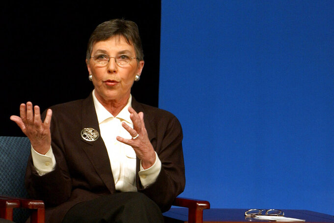 FILE - In this Feb. 9, 2003, file photo, former Oregon Congresswoman Elizabeth Furse answers a question from the audience during a town hall meeting in Milwaukie, Ore. Furse, who represented northwest Oregon in Congress for three terms in the 1990s and championed the rights of Native Americans, has died from complications related to a fall, her former husband said. She was 84 and died Sunday, April 18, 2021, said John Platt. (AP Photo/Greg Wahl-Stephens, File)