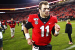 Georgia quarterback Jake Fromm (11) leaves the field after a NCAA football game between Georgia and Missouri in Athens, Ga., on Saturday, Nov. 9, 2019. Georgia won 27-0. (Joshua L. Jones/Athens Banner-Herald via AP)