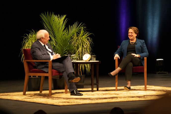 U.S. Supreme Court Justice Elena Kagan speaks in Northrop Auditorium in Minneapolis as part of the Stein Lecture on Monday, Oct. 21. 2019. (Jasmin Kemp/The Minnesota Daily via AP)
