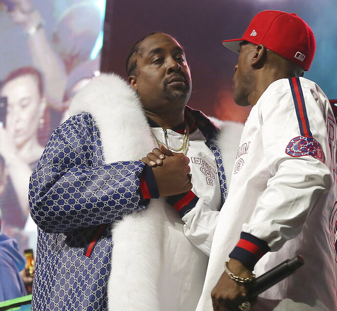 FILE - In this June 1, 2018, file photo, DJ Eric B and rapper Rakim shake hands after performing at the Yo! MTV Raps: 30TH Anniversary Experience at the Barclays Center in New York. Rapper and actor Eric B. was sentenced to a year's probation Friday, Nov. 22, 2019, stemming from a motor vehicle stop and police chase that occurred nearly 19 years ago but wasn't resolved because he failed to show up for his sentencing. The 54-year-old New York City native apologized during a brief statement to the court. (Photo by Donald Traill/Invision/AP, File)