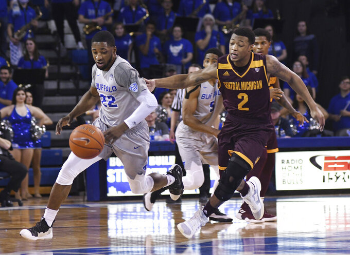 Buffalo's Dontay Caruthers, left, drives past Central Michigan's Shawn Roundtree, Jr., during an NCAA college basketball game in Buffalo, N.Y., Saturday, Feb. 9, 2019. (AP Photo/Heather Ainsworth)