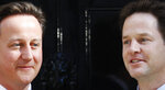 FILE - In this Wednesday, May 12, 2010 file photo, Britain's Prime Minister David Cameron, left, and Deputy Prime Minister Nick Clegg, right, pose for the photographers outside Cameron's official residence at 10 Downing Street in central London. Britain is facing the most testing and significant, some would say tortuous, period in its modern history since World War II. The polarized electorate now has a critical choice to make _but it seems unlikely the result, whatever it may be, will heal deep and toxic divisions that could last a generation or more. (AP Photo/Lefteris Pitarakis, File)