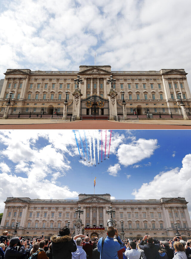 A combo of images showing the Red Arrows flying over Buckingham Palace during the annual Trooping the Colour Ceremony in London on Saturday, June 8, 2019 and the the empty scene taken from the same angle on Wednesday, April 1, 2020. When Associated Press photographer Frank Augstein moved to London in 2015, what struck him most was the crowds. Augstein, who grew up in a small town in western Germany, thought Britain's capital of almost 9 million people was the busiest place he had ever seen. In years of covering political dramas, moments of celebration and tragedy and major sporting events, Augstein's photographs have captured the city's ceaseless movement: Pedestrians swarming over the Millennium footbridge spanning the River Thames. Travelers from the U.K. and continental Europe thronging St. Pancras railway station. Commuters following London transit etiquette by carefully ignoring one another on a crowded Tube train, or waiting patiently in a snaking bus queue.