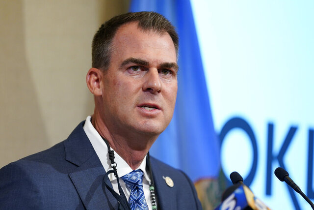 Oklahoma Gov. Kevin Stitt speaks during a news conference Thursday, Sept. 17, 2020, in Oklahoma City. Stitt said that he will not issue a statewide mask mandate, despite a recommendation from the White House Coronavirus Task Force. (AP Photo/Sue Ogrocki)