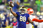 Notre Dame wide receiver Javon McKinley (88) reacts after a catch during the third quarter against Clemson in an NCAA college football game Saturday, Nov. 7, 2020, in South Bend, Ind. (Matt Cashore/Pool Photo via AP)