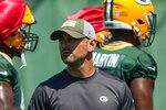 Green Bay Packers' Matt LaFleur watches a drill during an NFL football minicamp Tuesday, June 8, 2021, in Green Bay, Wis. (AP Photo/Morry Gash)