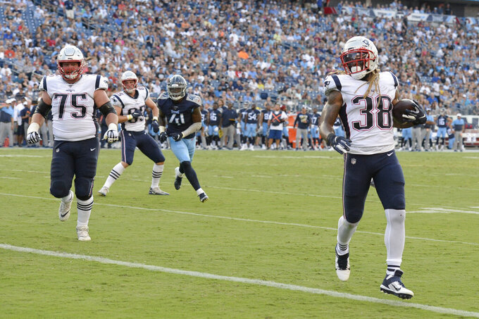 New England Patriots running back Brandon Bolden (38) scores a touchdown on a 1-yard run against the Tennessee Titans in the first half of a preseason NFL football game Saturday, Aug. 17, 2019, in Nashville, Tenn. (AP Photo/Mark Zaleski)