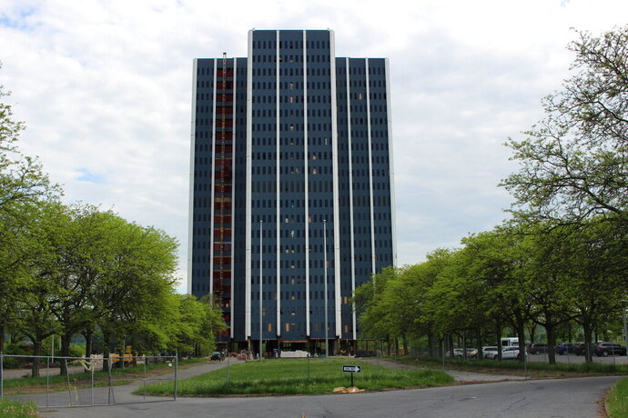 This May 8, 2019, photo shows Martin Tower in Bethlehem, Pa. The 21-story building, the former global headquarters of defunct steelmaker Bethlehem Steel Corp., is set to be imploded on May 19, 2019. (AP Photo/Michael Rubinkam)