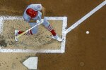 St. Louis Cardinals' Adam Wainwright hits an RBI single during the second inning of a baseball game against the Milwaukee Brewers Friday, Sept. 3, 2021, in Milwaukee. (AP Photo/Morry Gash)
