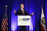 FILE - In this Sept. 7, 2019, file photo, San Diego Mayor Kevin Faulconer speaks during the California GOP fall convention in Indian Wells, Calif.  Faulconer is forming a committee to begin raising money for a potential run for governor. The Republican's announcement on Twitter comes as supporters of a possible recall election aimed at Democratic Gov. Gavin Newsom continue gathering petition signatures needed to qualify for the ballot. (AP Photo/Chris Carlson, File)