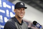 New York Yankees' Aaron Judge speaks at a news conferece after a spring training baseball workout Tuesday, Feb. 18, 2020, in Tampa, Fla. (AP Photo/Frank Franklin II)