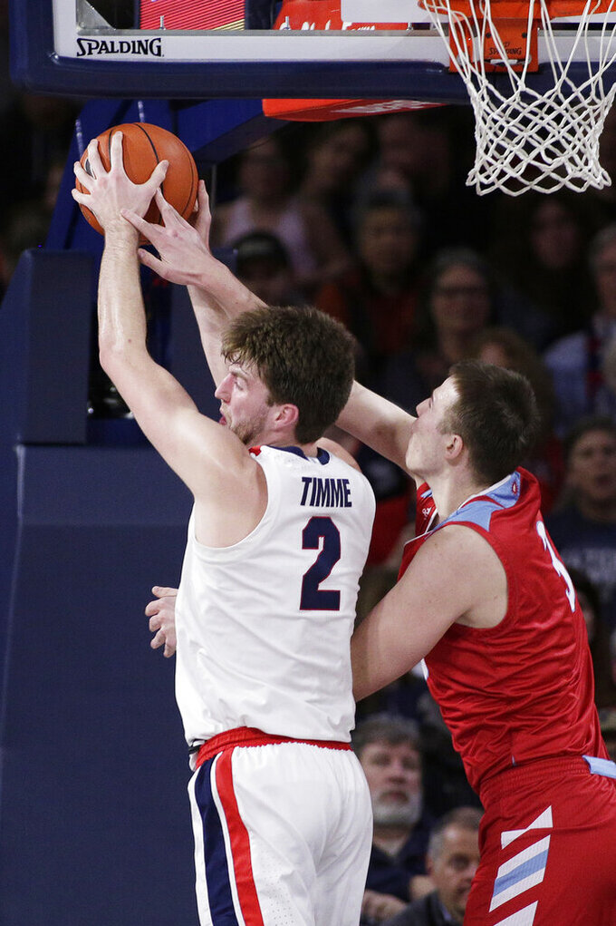 Gonzaga forward Drew Timme, left, grabs a rebound against Loyola Marymount forward Lazar Nekic during the first half of an NCAA college basketball game in Spokane, Wash., Thursday, Feb. 6, 2020. (AP Photo/Young Kwak)
