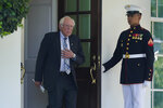 Sen. Bernie Sanders, I-Vt., walks out to talk to reporters outside the West Wing of the White House in Washington, Monday, July 12, 2021, following his meeting with President Joe Biden. (AP Photo/Susan Walsh)