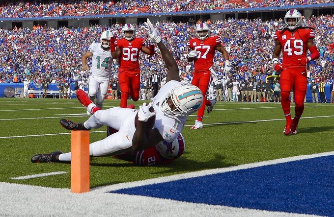 Miami Dolphins wide receiver DeVante Parker dives into the end zone for a touchdown after catching a pass in the first half of an NFL football game against the Buffalo Bills, Sunday, Oct. 20, 2019, in Orchard Park, N.Y. (AP Photo/Adrian Kraus)