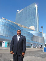 Democratic Mayor Marty Small poses on the Boardwalk, Thursday, Oct. 1, 2020, in Atlantic City, N.J. The East Coast gambling resort will have its third election of the year in November, this one to select a mayor to serve all of 2021. (AP Photo/Wayne Parry)