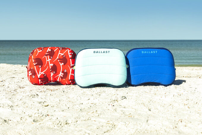 This photo shows the Ballast Beach Pillow, an outdoor weighted inflatable pillow. Keep the handmade cards, bouquets or breakfasts in bed coming this Mother's Day, but up your game in celebration of brighter days ahead with a store-bought gift. (Ballast via AP)