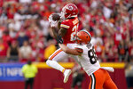 = during the first half of an NFL football game Sunday, Sept. 12, 2021, in Kansas City, Mo. (AP Photo/Charlie Riedel)