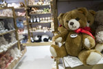 """In this Tuesday, Nov. 13, 2018 photo, Steiff teddy bears are on display during a media preview of the new FAO Schwarz store at Rockefeller Center in New York. Three years after it closed its beloved, fantasy land of a toy store on Fifth Avenue, FAO Schwarz makes its return to New York City. The new version will be smaller, but will have familiar attractions including a musical clock tower and the giant piano keyboard mat on which Tom Hanks danced in the film """"Big."""" (AP Photo/Mary Altaffer)"""