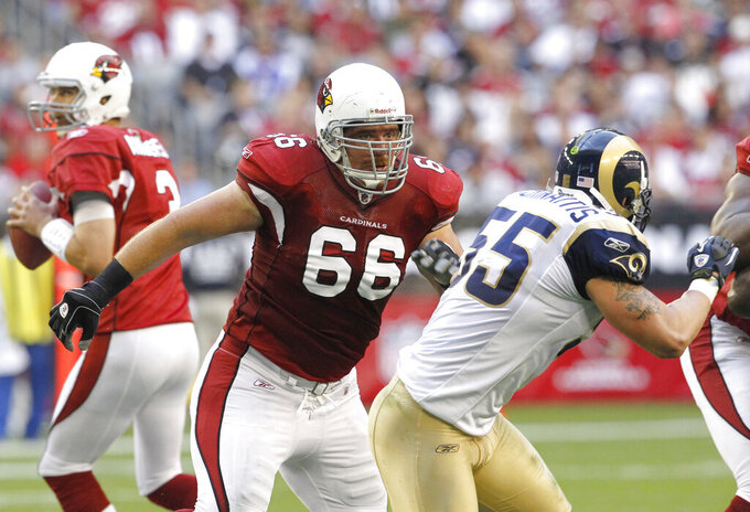 FILE - In this Dec. 5, 2010, file photo, Arizona Cardinals' Alan Faneca (66) blocks for quarterback Derek Anderson as St. Louis Rams' James Laurinaitis (55) moves to the right during an NFL football game in Glendale, Ariz. Faneca set the tone on the Steelers' offensive line during his 10 years in Pittsburgh and the six-time All-Pro guard did the same in two seasons with the New York Jets and one with the Arizona Cardinals. Faneca was elected to the Pro Football Hall of Fame in his sixth year of eligibility and it is an honor that many believe was a long time coming.  (AP Photo/Ross D. Franklin, File)