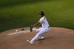 San Diego Padres starting pitcher Yu Darvish works against a Los Angeles Dodgers batter during the first inning of a baseball game Saturday, April 17, 2021, in San Diego. (AP Photo/Gregory Bull)