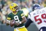 Green Bay Packers quarterback DeShone Kizer looks to pass during the first half of the team's NFL preseason football game against the Houston Texans on Thursday, Aug. 8, 2019, in Green Bay, Wis. (AP Photo/Jeffrey Phelps)