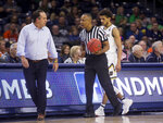 Notre Dame head coach Mike Brey questions an official during the first half of an NCAA college basketball game against Clemson, Wednesday, March 6, 2019, in South Bend, Ind. (AP Photo/Robert Franklin)