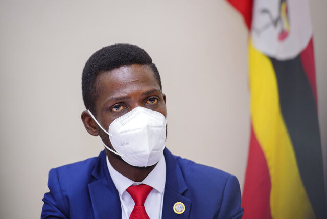 Bobi Wine, during a Press conference in Kampala Uganda, Tuesday, Jan.12, 2021.  Opposition figures in Uganda cited widespread violence perpetrated by the security forces ahead of presidential election on upcoming Thursday, including an alleged dawn attack Tuesday on the residence of main presidential challenger Bobi Wine.  (AP Photo/nicholas bamulanzeki )