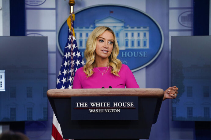 White House press secretary Kayleigh McEnany speaks during a briefing at the White House, Wednesday, Dec. 2, 2020, in Washington. (AP Photo/Evan Vucci)