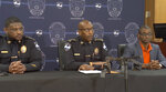 Savannah Police Chief Roy Minter holds a news conference on Saturday, June 12, 2021 in Savannah, Ga.  Officials say a 20-year-old was killed by gunfire in a mass shooting that also injured eight others, including an 18-month-old toddler and a 13-year-old, late Friday at an apartment complex.   No suspects have been arrested.  (WSAV via AP)