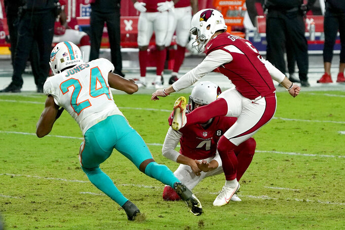 Arizona Cardinals kicker Zane Gonzalez unsuccessfully attempts a game-tying field goal as punter Andy Lee (4) holds during the second half of an NFL football game as Miami Dolphins cornerback Byron Jones (24) defends, Sunday, Nov. 8, 2020, in Glendale, Ariz. The Dolphins won 34-31. (AP Photo/Rick Scuteri)