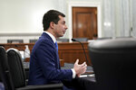 Transportation Secretary nominee Pete Buttigieg speaks during a Senate Commerce, Science and Transportation Committee confirmation hearing on Capitol Hill, Thursday, Jan. 21, 2021, in Washington. (Stefani Reynolds/Pool via AP)