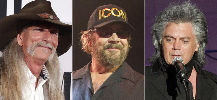 This combination photo shows, from left, songwriter Dean Dillon, singer Hank Williams, Jr., and singer Marty Stuart, who are the newest inductees to the Country Music Hall of Fame. (AP Photo)