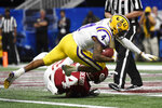 LSU running back John Emery Jr. (4) scores a touchdown against Oklahoma during the second half of the Peach Bowl NCAA semifinal college football playoff game, Saturday, Dec. 28, 2019, in Atlanta. (AP Photo/Danny Karnik)