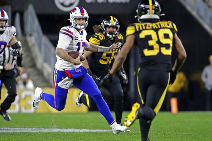 Buffalo Bills quarterback Josh Allen (17) runs the ball during the first half of an NFL football game against the Pittsburgh Steelers in Pittsburgh, Sunday, Dec. 15, 2019. (AP Photo/Don Wright)