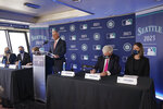 Baseball Commissioner Rob Manfred speaks during a news conference, Thursday, Sept. 16, 2021, at the Space Needle in Seattle. Manfred announced that the Seattle Mariners will host the 2023 MLB All-Star Game at T-Mobile Park. (AP Photo/Ted S. Warren)