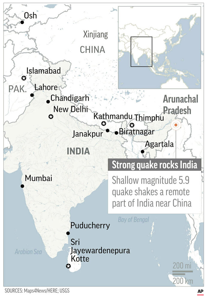 Map locates earthquake in Arunachal Pradesh, India;
