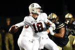 Stanford quarterback Tanner McKee (18) looks to pass against Vanderbilt in the first half of an NCAA college football game Saturday, Sept. 18, 2021, in Nashville, Tenn. (AP Photo/Mark Zaleski)